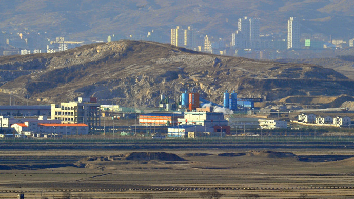 Kaesong Joint Industrial Complex, taken from South Korean observation tower. Photo: AFP/Jung Yeon-Je
