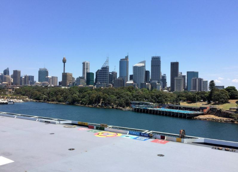 Looking over the flight deck from the bridge, and one of the best views of Sydney. Photo: Peninsularity Ensues